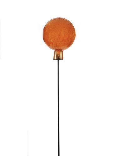 Kugel, Glaskugel 'Craquele Kugel'; Metall, Glas-orange; 100 cm; Gartenstecker, Beetstecker