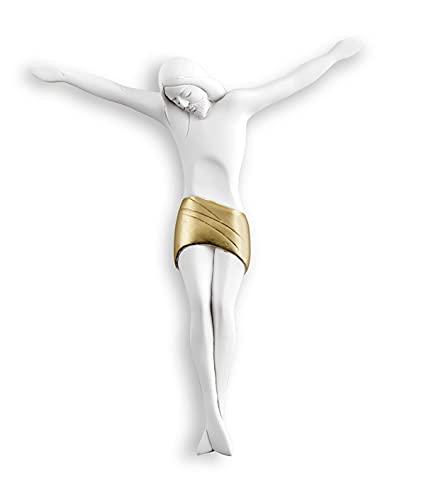 luce di cristo MAZZOLA LUCE Cristo crocifisso da Parete 22x26 cm Design Moderno Bianco Oro Senza Croce da Appendere Artigianale