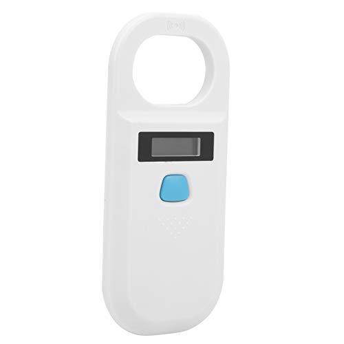 Tomanbery Pantalla OLED de Alto Brillo Lector de Etiquetas Recargable de Baja frecuencia Escáner de Mascotas RFID para la gestión de recursos para la gestión de Animales pequeños(White)
