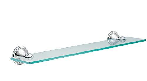 Moen DN8490CH Preston Collection 19.5-Inch Wide x 4-Inch Deep Decorative Glass Bathroom Vanity Shelf, Chrome (Tools & Home Improvement)