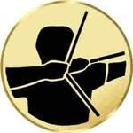 S.B.J - Sportland Pokal/Medaille Emblem, Motiv Bogenschießen, Durchmesser 50 mm, Gold
