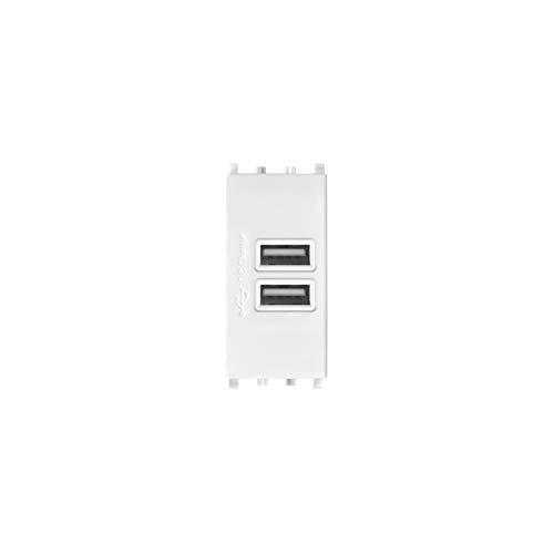 LineteckLED -TOT621B- Serie Completa Materiale Elettrico Fai da Te- Presa USB Bianca Input 90-265V 50/60Hz 0.4A - Output 5V 2A Due Uscite Compatibile vimar