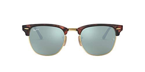 Ray-Ban Unisex Clubmaster Sonnenbrille, Braun (Gestell: Havana, Gläser: Silber Flash 114530), Medium (Herstellergröße: 51)