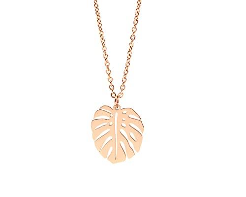 Nuoli® Blatt Kette Rosegold Damen (45 + 5cm verstellbar) Halskette mit Monstera Schmuck Anhänger für Frauen & Mädchen, aus Edelstahl