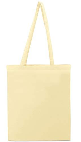 Siglo XXI Bolsa de algodón Natural con Asas largas 145 grs. Pack 10 Unidades. Tote Bag, Bolsa Compra, Saco Tela, Bolsas Manualidades, Bolsas. Regalo en Cada Pack