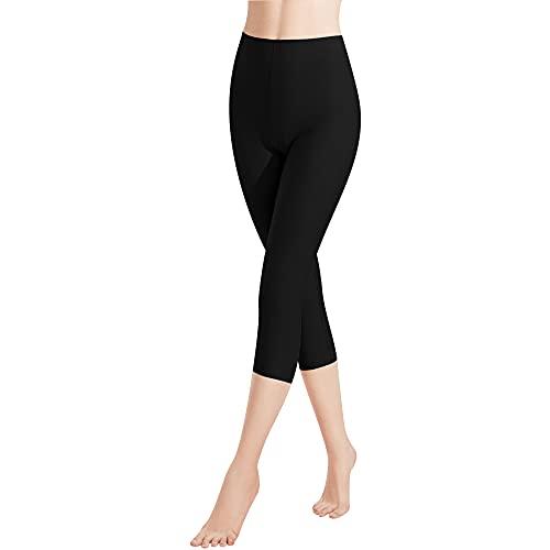 Libella Lot de 1 Femme Leggings Longueur 3/4 Pantacourt coloré avec Taille Haute Capri Pantalon Tenue de Sport Coupe Slim en Coton Vêtements 4161 Noir L