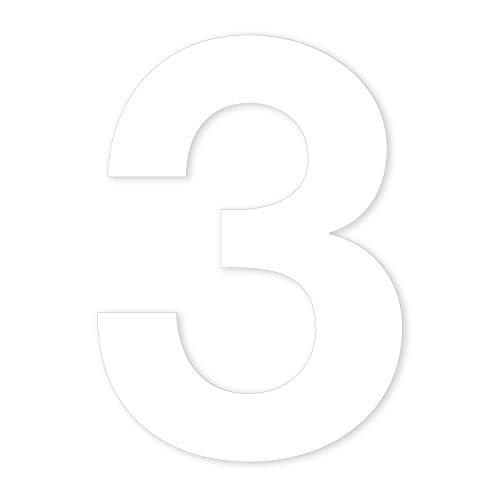 Zahlen-Aufkleber Nr. 3 in weiß I Höhe 10 cm I selbstklebende Haus-Nummer, Ziffer zum Aufkleben für Außen, Briefkasten, Tür I wetterfest I kfz_674_3