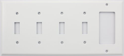 Stamped Steel Smooth White (NOT PLASTIC) 5 Gang Switch Plate, 4 Toggle Switches 1 GFI/Rocker Opening