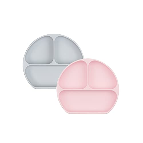 Bumkins Silicone Grip Dish, Suction Plate, Divided Plate, Baby Toddler Plate, BPA Free, Microwave Dishwasher Safe, Gray and Pink, 2 Count