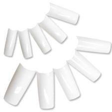 100 x false medium/longue longueur Couverture Complète, French manucure demi embouts ou bout faux ongles, 10 tailles différentes (10 de chaque taille) Posté de Londres par Fat-catz-copie-catz - blanc ongles artificiels, 0-9