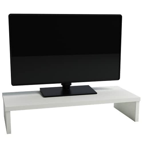 Henor Soporte Madera Monitor Elevador de Pantalla TV 62x26.5x12 Cm Muebles de TV, Elevador Monitor, Soporte Monitor pc, Soporta 50Kg. Blanco