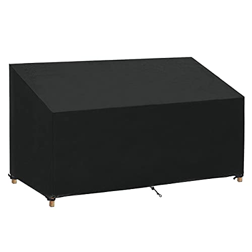 SanGlory 3 Seater Bench Cover Waterproof Oxford Fabric, Anti-UV Coating Protective Cover for Garden Seat, Tear Resistant 3 Seat Garden Bench Cover 163x66x63/89cm