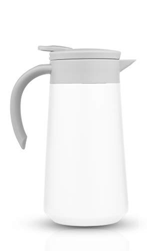 BOHORIA® Isolierkanne | Thermoskanne |Kanne für Kaffee, Tee & Wasser |Edelstahl | Quick Tip Verschluss | 0,8 Liter (White)