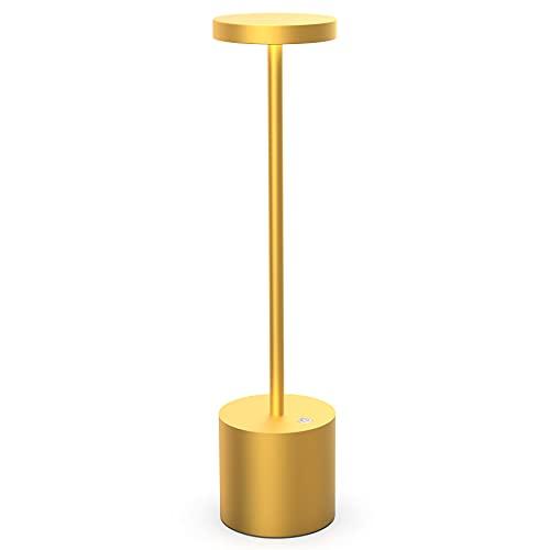 Lámpara de escritorio inalámbrica de 6000 mAh, recargable por USB luz de restaurante regulable de 2 niveles, moderna de aluminio lámpara de mesa LED de lectura mesilla para dormitorio (dorado)