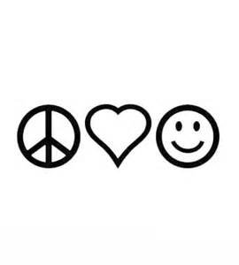 Chase Grace Studio Peace Sign Love Heart Be Happy Hippie Vinyl Decal Sticker|BLACK|Cars Trucks Vans SUV Laptops Wall Art|7.5' X 2.5'|CGS402