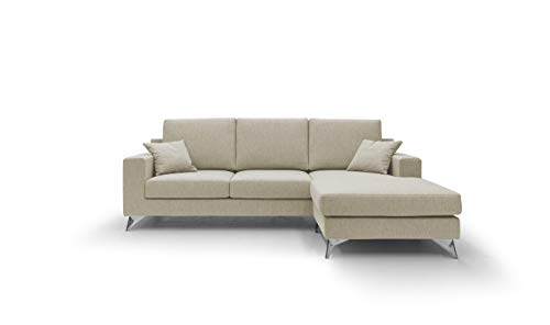 Homcom Italian Home - Sofá fijo de tela suave impermeable, modelo Vertigo de 3 plazas o esquinero con chaise longue reversible, estructura de madera de abeto, fabricado en Italia, (crema, esquina)