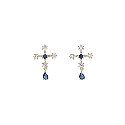 S925 Pendientes De Piedras Preciosas Azules Cruzadas Pendientes Estudiante Temperamento Simple Pendientes De Moda Pendientes Femeninos