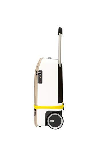 Maleta Cabina | Kabuto | 55 cm extensible vertical a 75 cm, Powerbank autorizada en cabina, compartimentos para ordenador portátil, ruedas silenciosas, Fingerprint TSA | blanco y amarillo