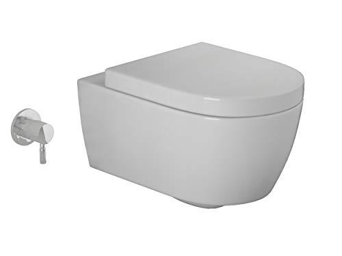 SSWW Spülrandloses Taharet WC inkl. abnehmbarer Softclose Sitz & Beschichtung Dusch-WC Intimdusche Toilette mit Bidetfunktion Shattaf