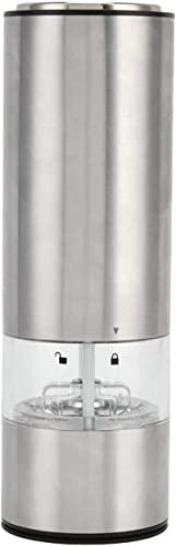 JeeKoudy Molinillo de Pimienta de Sal eléctrico, Molinillo de Pimienta eléctrico de Acero Inoxidable Molinillo de Sal automático Grueso Ajustable Especias Batido para Cocina Restaurante