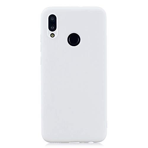 cuzz Coque Huawei P Smart 2019+{1 Pièces Protège Écran en Verre Trempé}Couleur Unie Premium Flexible Souple Silicone TPU Etui Mince Ultra-Lumière Anti-dérapante Anti-Choc Housse{Blanc}