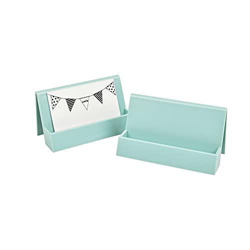 Paquete de 2 soportes para tarjetas de visita para escritorio, soporte para tarjetas de visita de plástico moderno, organizador de tarjetas de negocios para escritorio de oficina