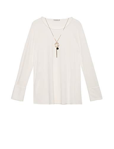 Elena Mirò : T-Shirt con Collana Bianco L (Italian Size)