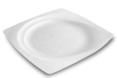 Garnet 9021 Piatto Quadrato Dura. Rigido e Riutilizzabile – Lavabile in lavastoviglie – Bianco-Made in ITALY-12 pz, Plastica