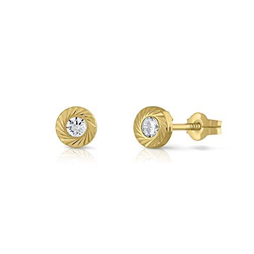 Pendientes Oro de Ley Certificado. Niña/Mujer. Cierre de presión. Medida 5.5 mm. (1-4524-3)