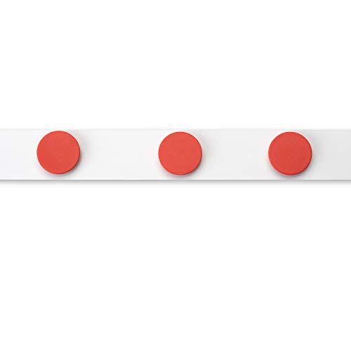 Stahlblech Magnet-Wandleiste als Haftgrund für Magnete I 1 Meter Magnetleiste inkl. 3 Rundmagnete - rot I selbstklebend, zuschneidbar I mag_140