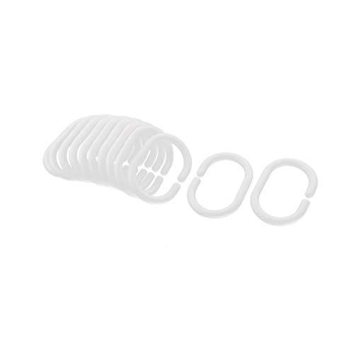 Kunststoff-Duschvorhang Ringe Haken Badezimmer Dusche Fenster Rutenringe Haken Multi-Funktions-Duschvorhang Haken Weiß 12st