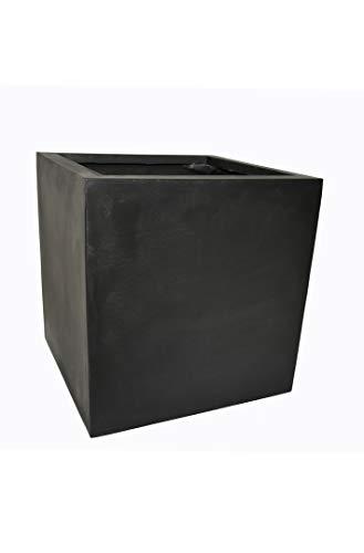 Casaflora Pflanzkübel quadratisch: 40x40x40 cm aus Fiberglas (schwarz)