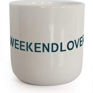PLTY - Becher - Tasse ohne Henkel - Handglasiertes Weiß Porzellan - Hochwertiges Bone China - Weekend Lover - Lyrics - Spülmaschinen- und Mikrowellengeeignet