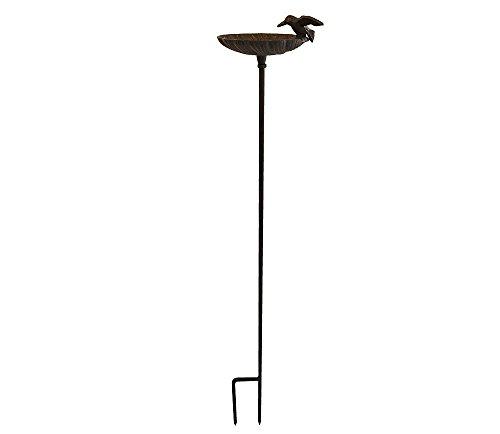 zeitzone Vogeltränke mit Stab Vogelbad Futterschale Gartenstecker Gusseisen Vintage 100cm