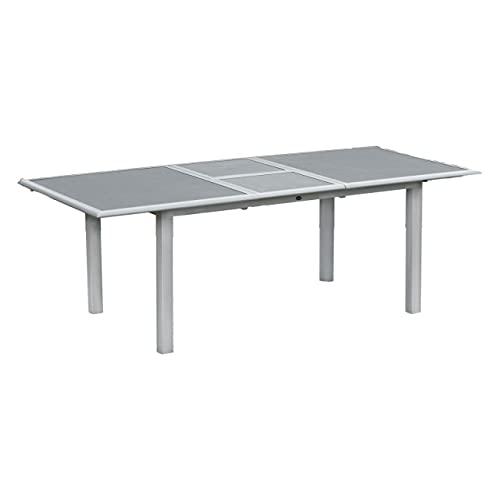 Inko Aluminium-Glastisch Spraystone Silber/grau ausziehbar 170/220x100x74 cm Gartentisch Terrassentisch