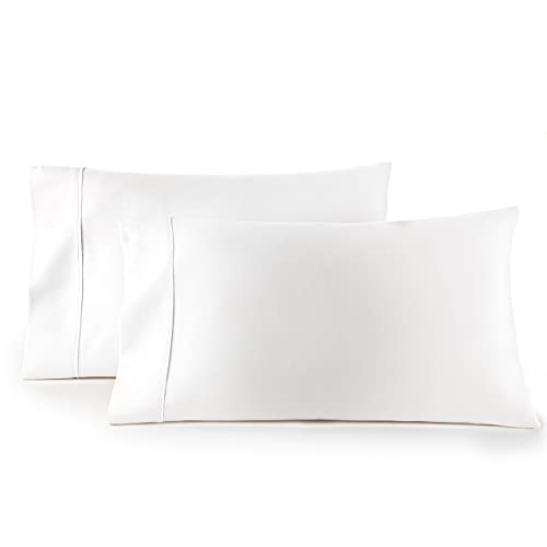 HC COLLECTION Pillow Cases - Set of 2 Standard/Queen Size Pillowcases,20' x 30', Microfiber Pillowcase Pack -White