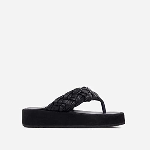 Tallas Grandes 2021 Verano Europeo Y Americano Casual Tejido Playa De Espiga De Mujer Zapatillas De Suela Gruesa Sandalias Negro