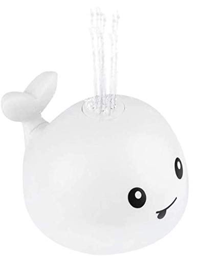 Mocoe Baby LED Light Up Bath Toys, Toddlers Water Spray Cute Whale Bathtub Toys, Water Sprinkler Pool Toys for Infants Kids, for Bath tub, Swimming Pool, Beaches Water Squirte Toys (Whale White)