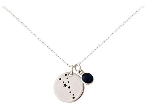 Gemshine Cosmic Konstellation Halskette mit Horoskop Sternzeichen Taurus Stier mit blauem Saphir aus 925 Silber, vergoldet oder rose - Made in Madrid, Spain, Metall Farbe:Silber