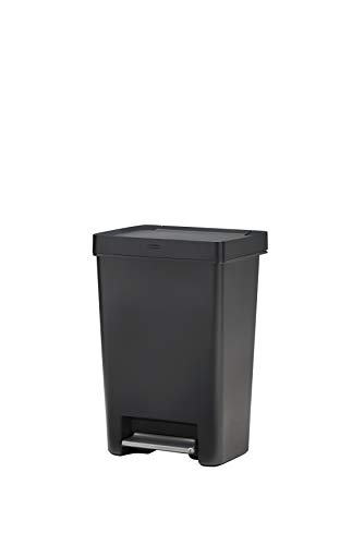 Rubbermaid 2129977 Premier Series I Step-On Trash Can for Home and Kitchen, Stainless Steel Pedal, 13 Gallon, Charcoal