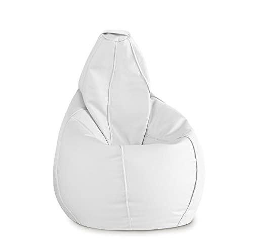 thesecrethome.es - Puff Pera XL Polipiel moldeable salón terraza habitación | con Relleno | No Necesita Montaje (XL, Blanco)