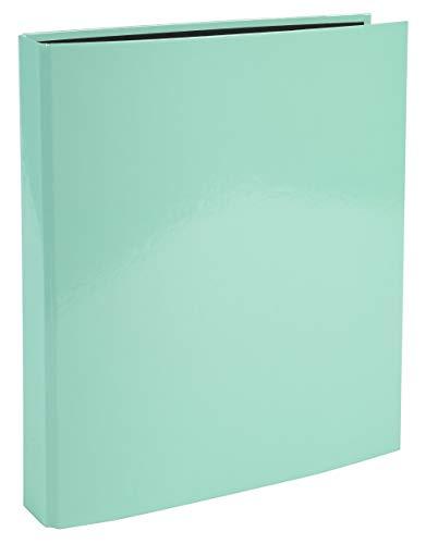 Exacompta 54563E - Archivador Acuarel (2 anillas, 2,5 cm, lomo de 4 cm, cubierta de cartón forrado con papel recubierto e interior negro), color verde pastel