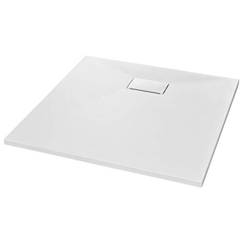 vidaXL Plato Ducha Resina Textura Pizarra Extraplano Antideslizante Mineral Fibra Vidrio Resistente Duradero Fácil Limpiar Cuadrado Blanco 80x80 cm
