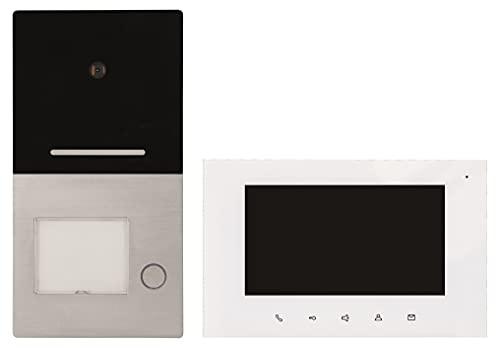 Flache 22mm Aufputz 2-Draht Bus Video Sprechanlage VILLA 1 WE mit 17,8cm TFT Touchscreen Monitor