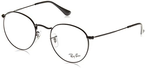 Ray-Ban RX3447V - Marcos redondos de metal para anteojos, Matte Black/Demo Lens, 50 mm