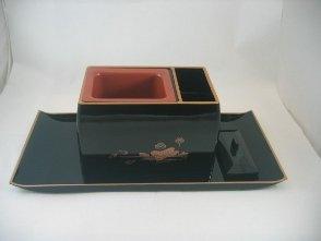 焼香盆セット5.0寸 黒フチ金蓮模様入り 便利なお盆とセットの回し香炉