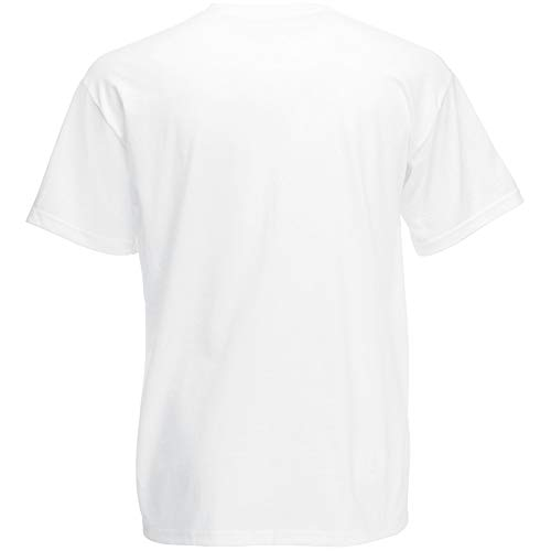 Fruit Of The Loom - Camiseta para hombre, manga corta, cuello de pico blanco XL