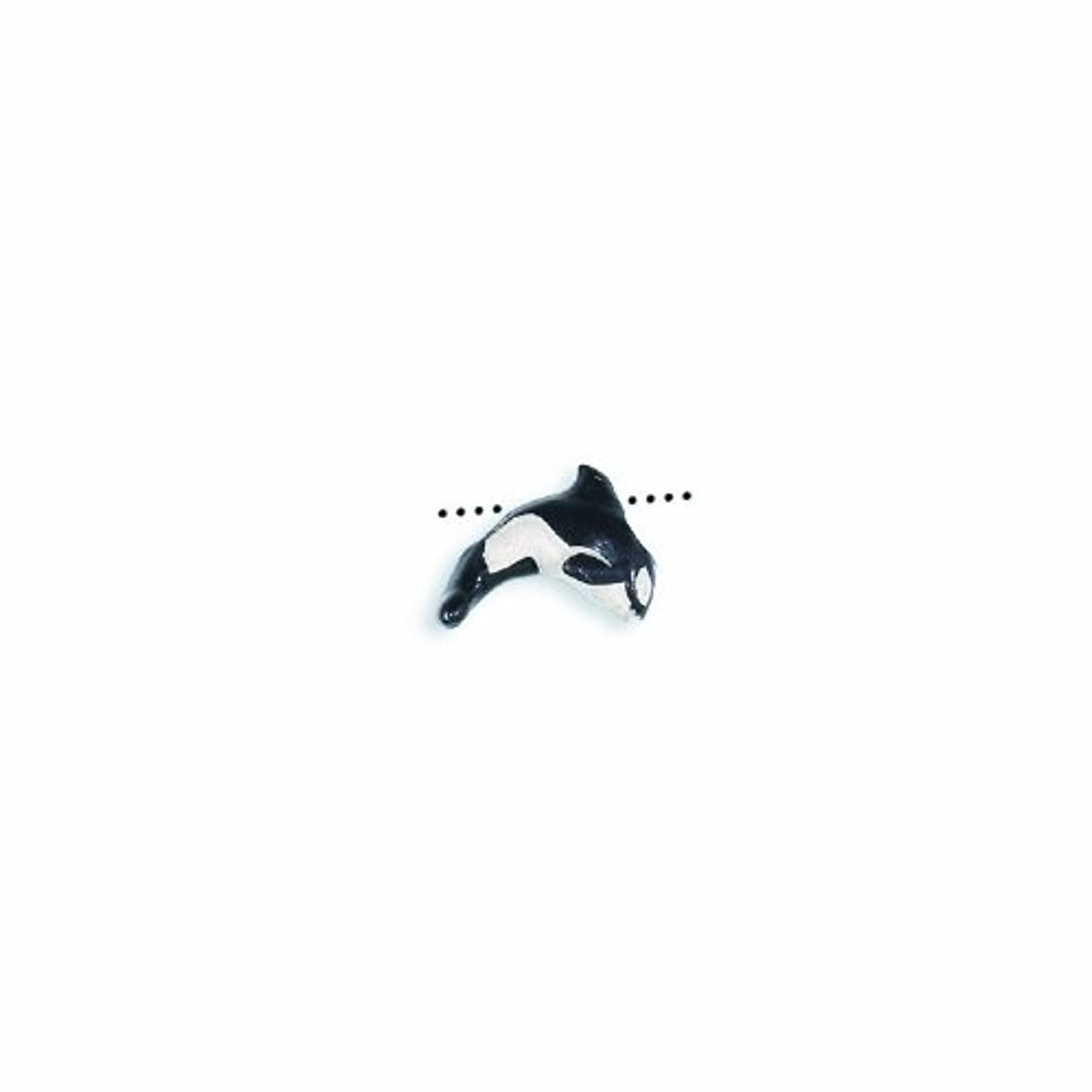 Peruvian Shipwreck Hand Crafted Ceramic Orca Whale Tiny Beads, 10 by 14mm, Black, 4 Per Pack