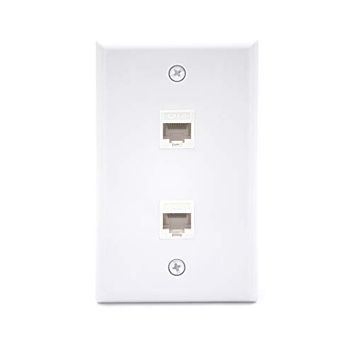 [UL Listed] VCE 2 Port Cat6 Female to Female Wall Plate, RJ45 Keystone Jack Inline Coupler FacePlates - White