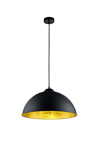 Trio Leuchten Pendelleuchte Romino II in schwarz matt, Schirm innen goldfarbig 308000132